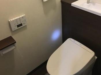 たっぷり収納の住宅用システムトイレ。
