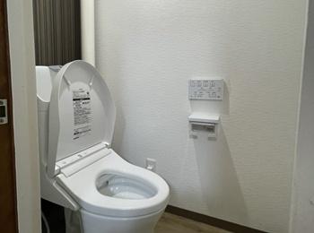 タンクが一体型のトイレでお手入れしやすいです。